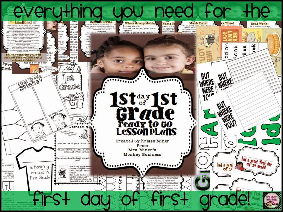 http://www.teacherspayteachers.com/Product/1st-Day-of-First-Grade-Lesson-Plans-for-Back-to-School-1339986