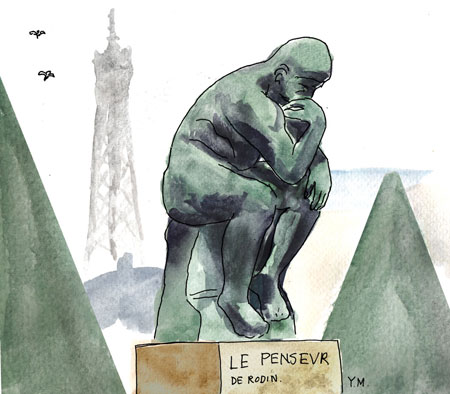The Thinker in Rodin museum garden, Paris. Illustrator in Paris Yukié Matsushita