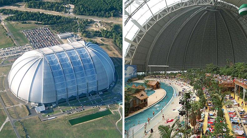 Tropical Islands: Un viejo hangar de dirigible alemán convertido en un gigante parque tropical temático