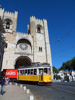 Lisbon tram and the cathedral