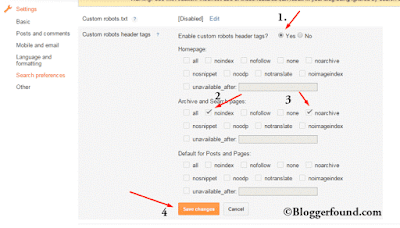 Robot Header Tag settings for BlogSpot Sites