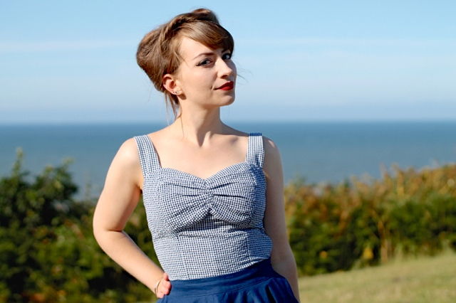 Collectif Sophia Gingham Top in navy