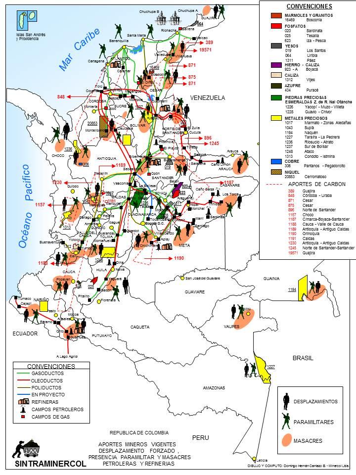 Mapa de Minería. petróleo y violación de DDHH en Colombia