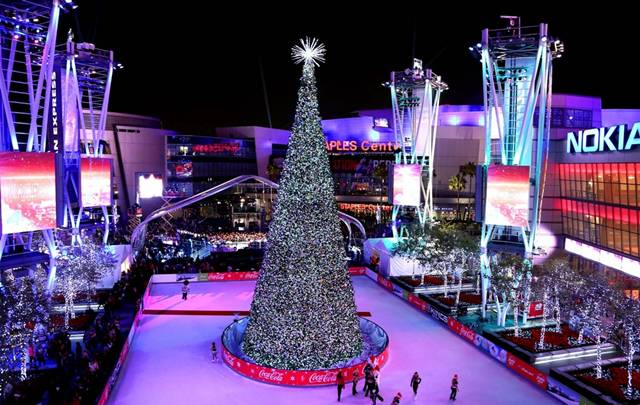 Christmas Tree at the Staples Center arena in Los Angeles, California
