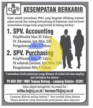 Lowongan Kerja Accounting & Purchasing April 2015