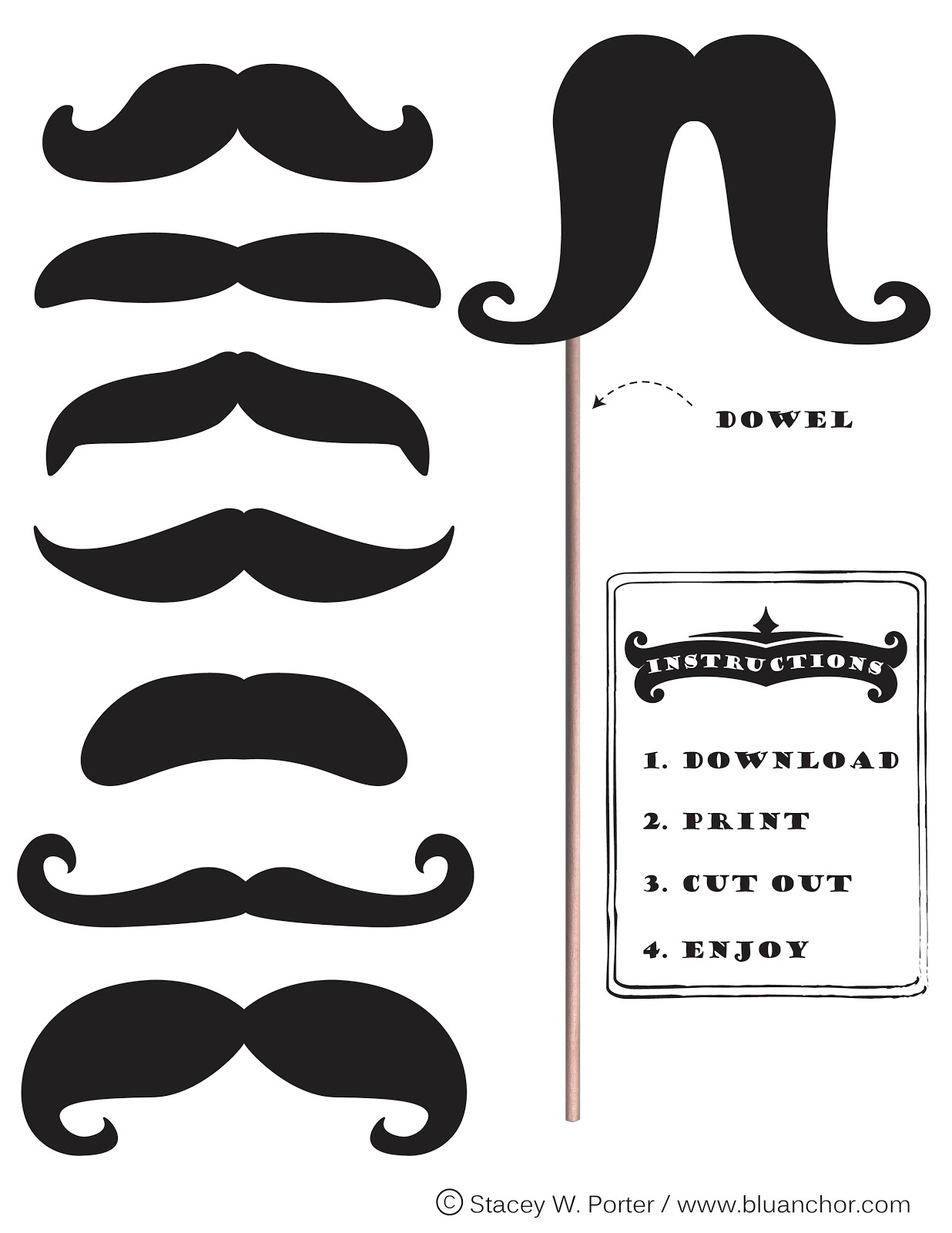 Unforgettable image within free mustache printable