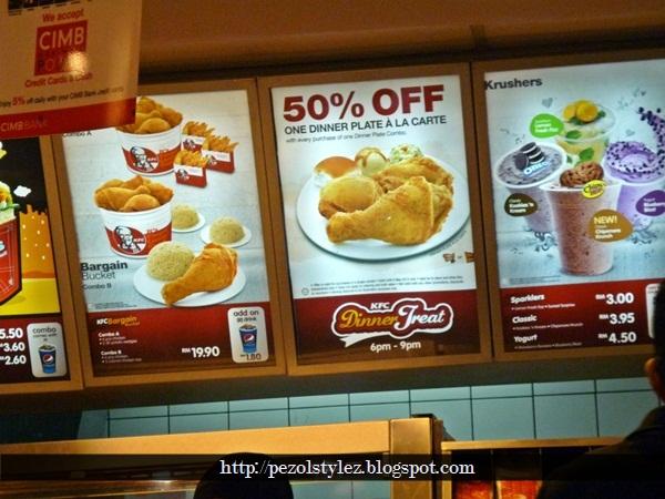 Aku makan 1 ketul dah kenyang..terpaksa tapau balik bwak umah..hihi & PEZOL STYLEZ: KFC BAGI POTONGAN DISKAUN 50% SET DINNER PLATE