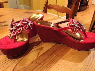 Aren't they pretty? My red platform shoes with sparkly red flowers on the front.