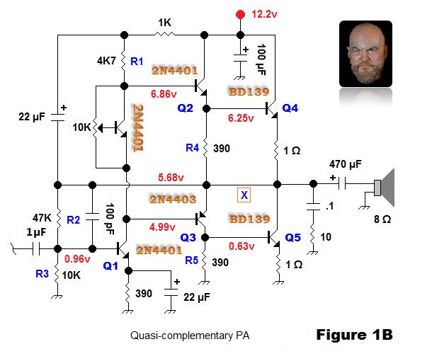 Figure 1B. My final quasi-complementary amplifier.