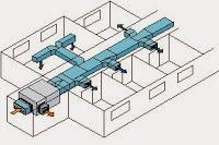 Red de conductos de aire acondicionado en un vivienda