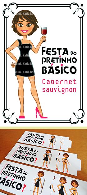 Ilustração, rótulo de vinho e convite deslizante para a Festa do Pretinho Básico: meu aniversário!
