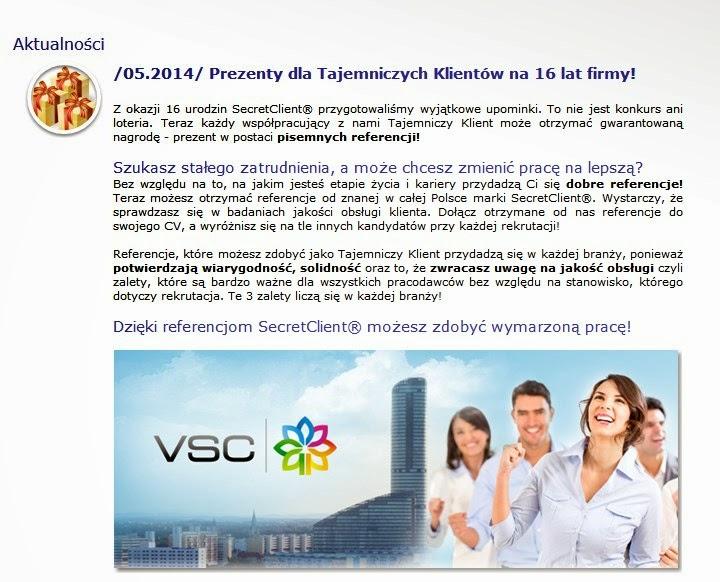 VisionSecretClient VSC praca jako tajny tajemniczy klient Zielona Góra