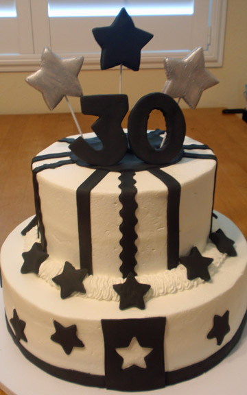 Sweet art factory black white birthday for 30th birthday cake decoration ideas