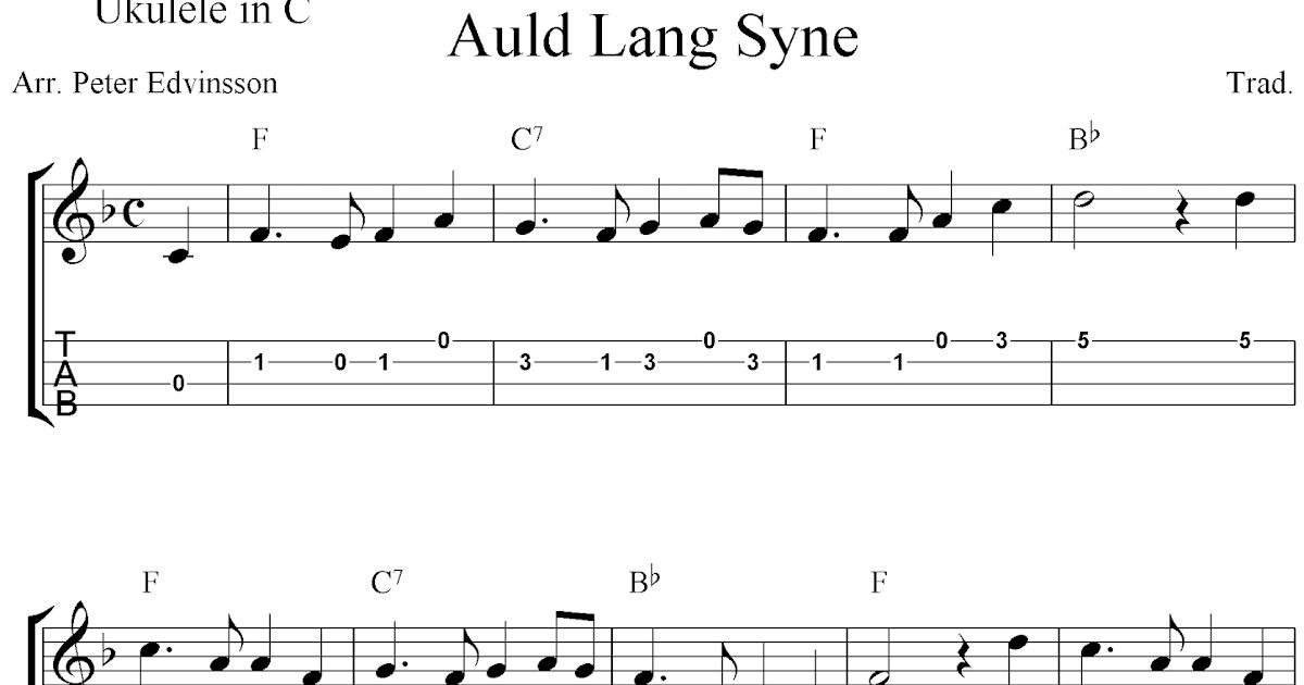 Auld Lang Syne Free Easy Ukulele Tab Sheet Music