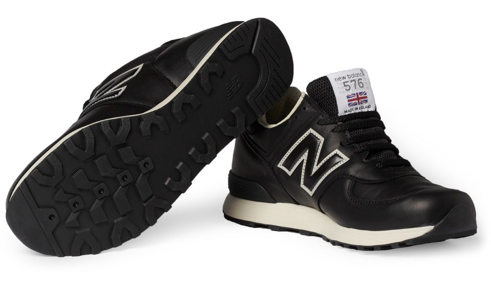 new balance black leather sneakers