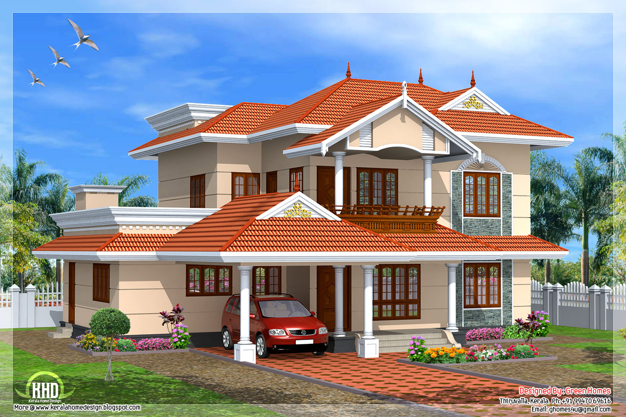 Kerala style 4 bedroom home design kerala home design for Kerala style home