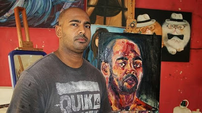 Myuran Sukumaran in his Kerobokan painting workshop
