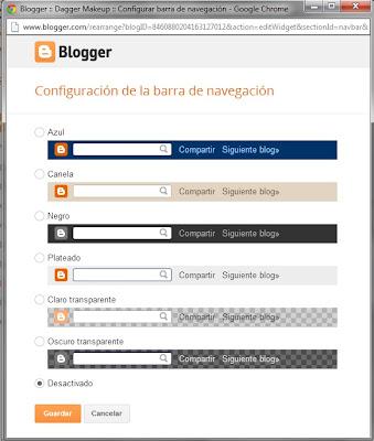Quitar la barra de navegación de Blogger