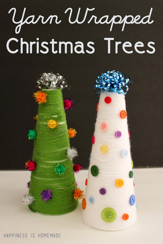 Yarn Wrapped Christmas Trees {Kid Craft} | #christmas #craft #kidscraft
