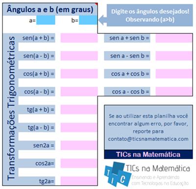 Funções e transformações trigonométricas no Excel