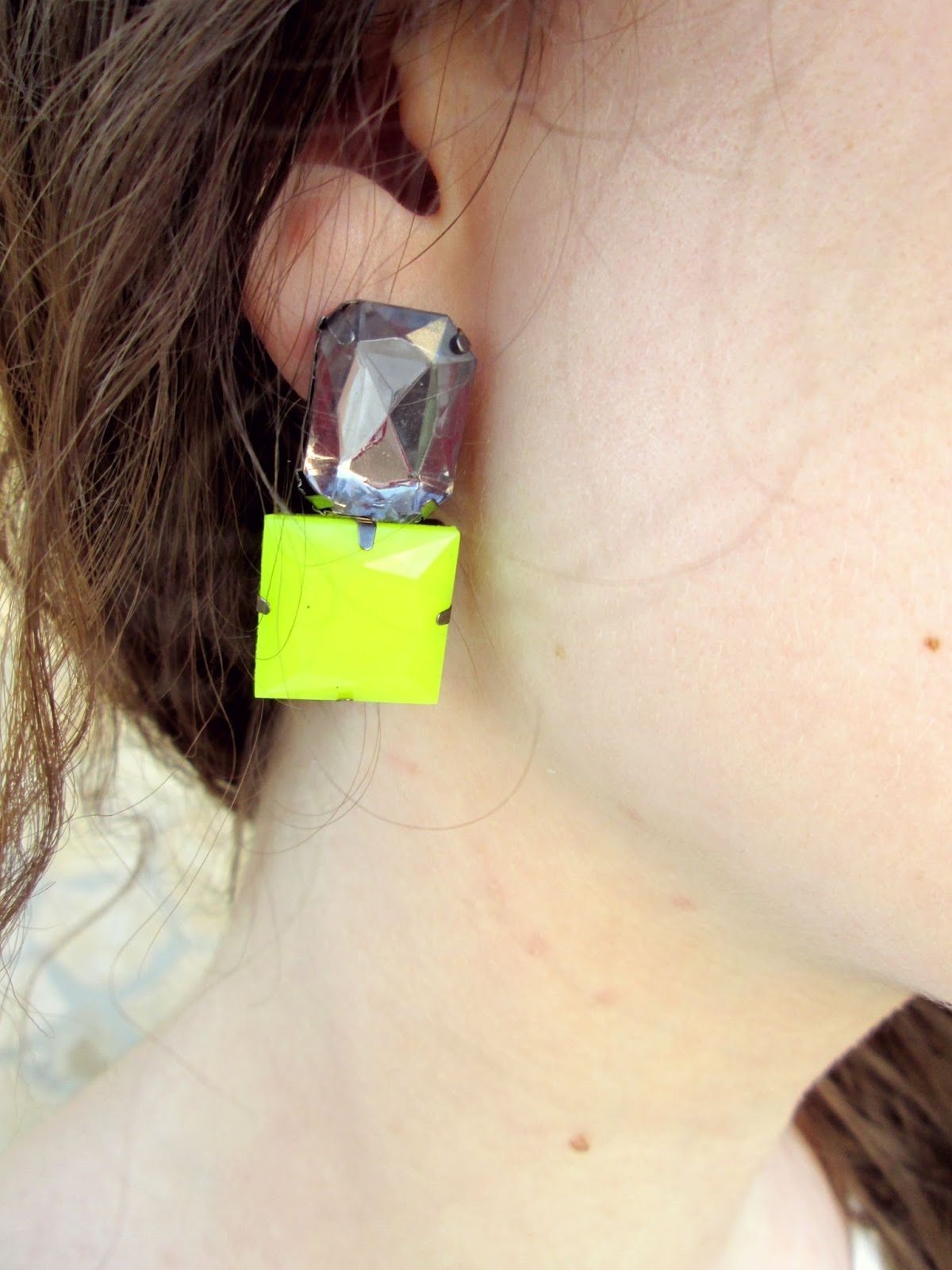 earring neon yellow fashion