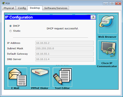 DHCP request successful di PC4