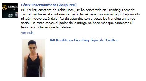 Fénix Entertainment Group Perú: Bill Kaulitz es trending topic de twitter Fenix+2
