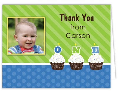 Bunny Prints 1st Birthday Personalized Thank You Cards