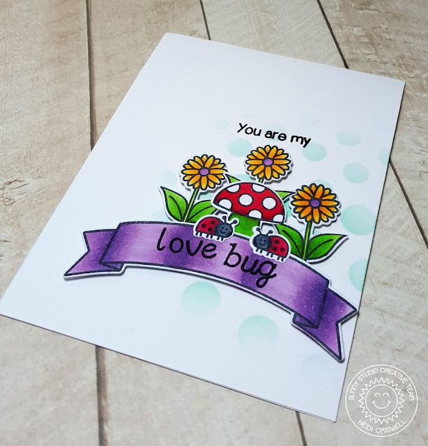 Sunny Studio Stamps: Backyard Bugs Love bug Ladybug card by Heidi Criswell.