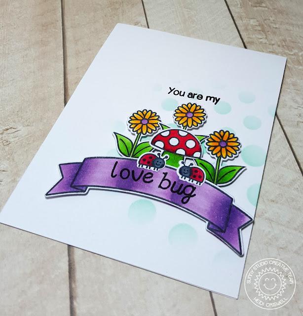 Sunny Studio Stamps: Backyard Bugs Love bug Ladybug card by Heidi Criswell.