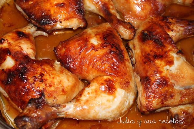 Julia y sus recetas muslos de pollo en salsa barbacoa for Cocinar 2 muslos de pollo