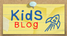 Kids blog post it note on corkboard
