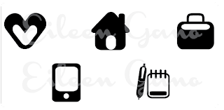 Eileen Gano Icon Set Heart House Case Phone Notes Notepad