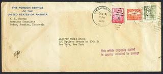 Surat (jadul) yang tidak di cap (berlabel tahun 1953) ini seharusnya di cap di tempat pengirimannya di Medan, Sumatera Utara, Indonesia, tetapi malah di cap di negara tujuan, Washington, Amerika Serikat.