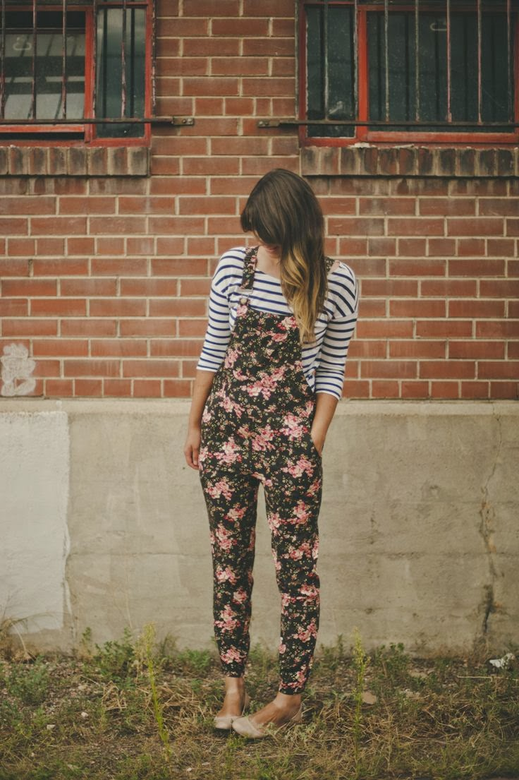 A cute floral overall and stripe blouse