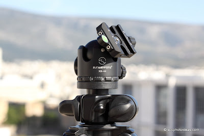 Sunwayfoto XB-44 ball head on Benro A-296EX tripod clamp tilted sun