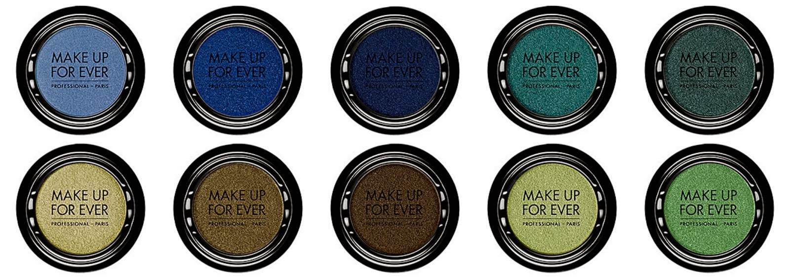 Make Up For Ever Artist Shadow Top from left: I212 Periwinkle I218 Indigo Blue I220 SapphireI238 Blue Cedar I300 Pine Green Bottom from left: I318 Linen Khaki I324 Bronze Khaki I328 Bronze I330 Linden Green I332 Meadow Green