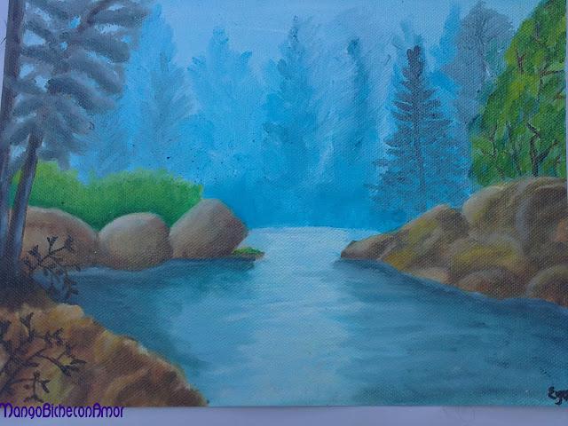 pintura rio oleo sobre lienzo