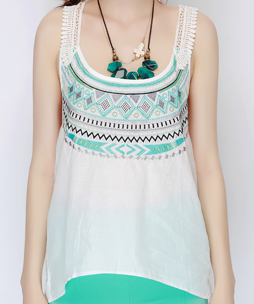 Aztec Embroidered Crochet-Back Top