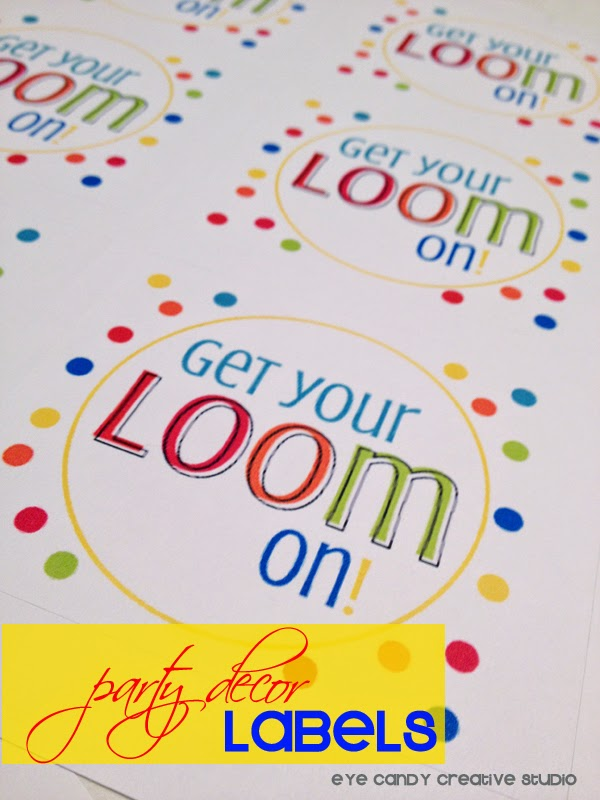 get your loom on, rainbow loom party, rainbow birthday, stickers, party decor labels