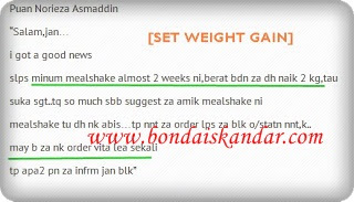 set weight gain/mealshake naik 2kg