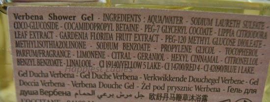 Loccitane Verbena Shower Gel Ingredients