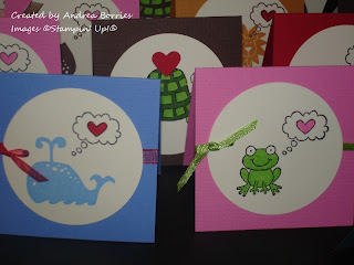 "Various 3"" x 3"" valentine cards with circle focal layer and a stamped image of an animal and a heart."