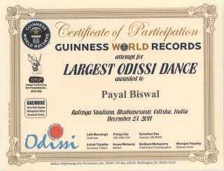 Guinness World Records – Participation certificate in the largest Odissi dance event