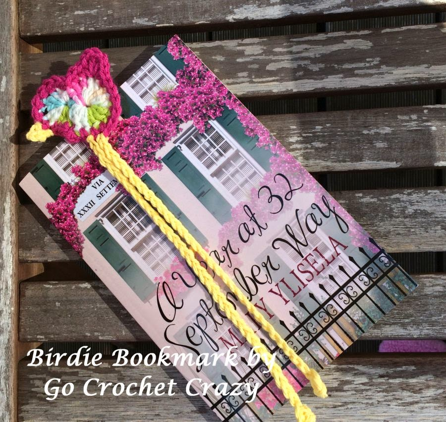 Crochet Bird Bookmark by Go Crochet Crazy, free bird pattern on blog.