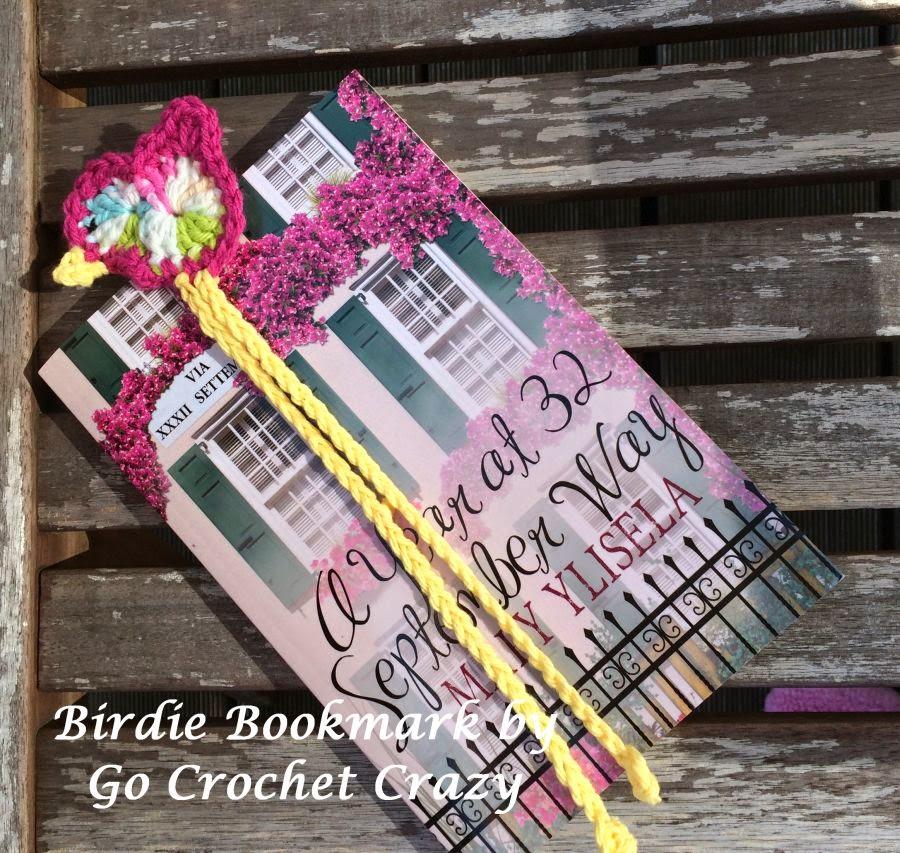 Crochet Bird Bookmark by Go Crochet Crazy, free bird pattern on blog.