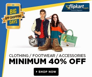 Great Discount on Clothing & Footwear @ Flipkart: Min 40% Off + Extra 20% Off on Mobile App + Extra 10% Off (SBI Credit / Debit Card)