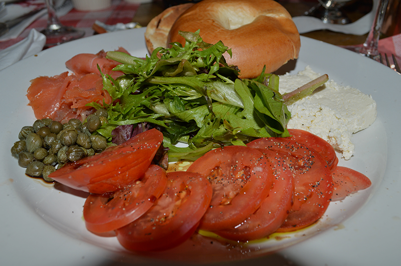 Bagel with cream cheese and smoked salmon at Le Bouchon du Grove in Coconut Grove Florida