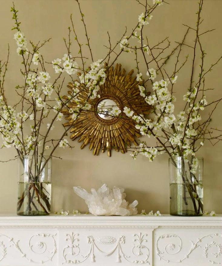 Springtime Mantle with Cherry Blossoms, Sunburst Mirror, and Quartz Crystal