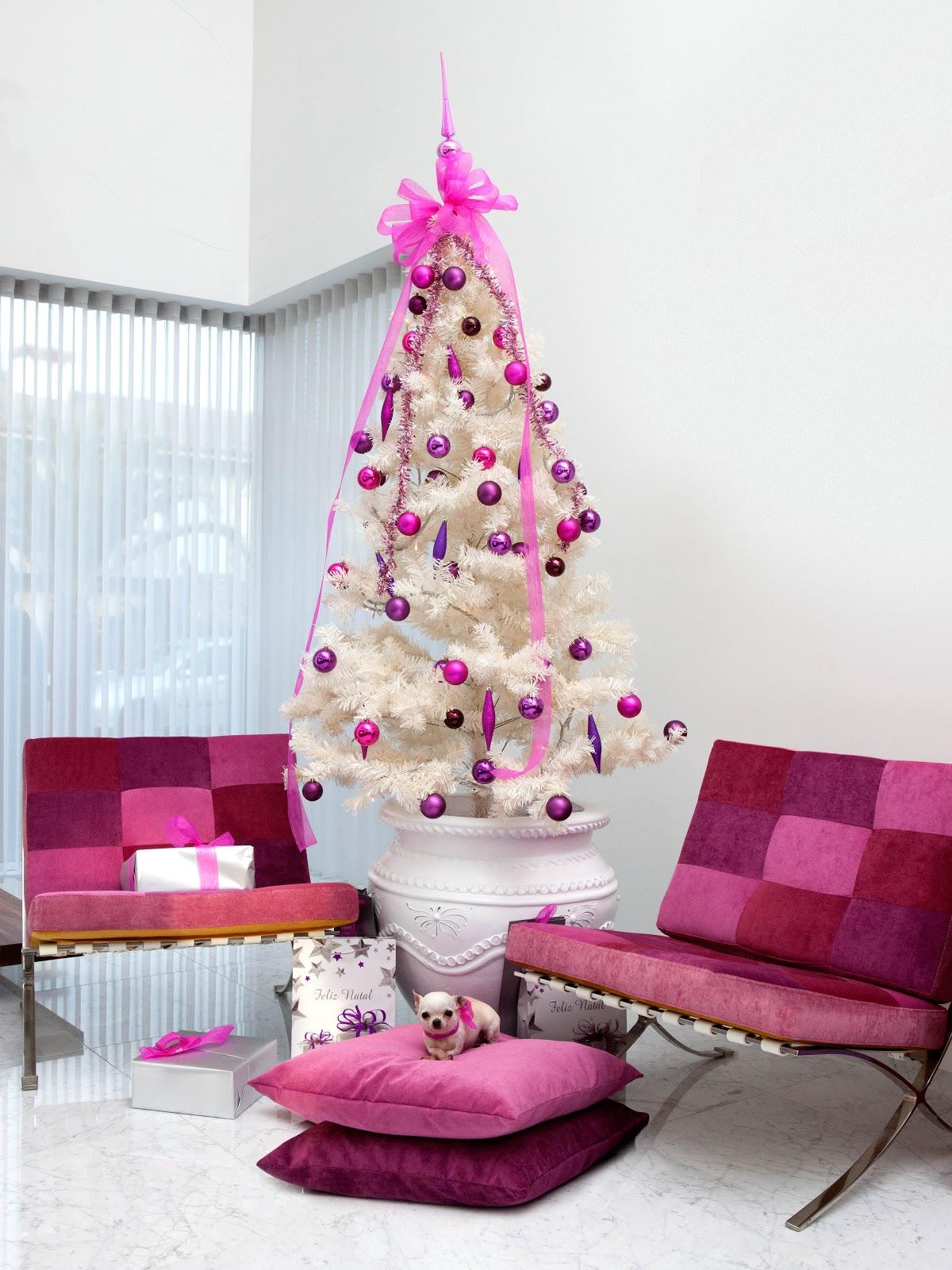 ideias para decorar arvore de natal branca : ideias para decorar arvore de natal branca:Ambiente natalício